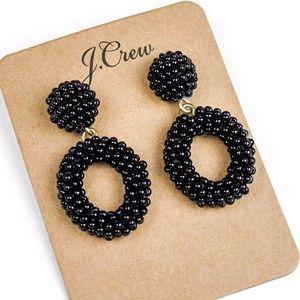 Jcrew black beads statement earrings